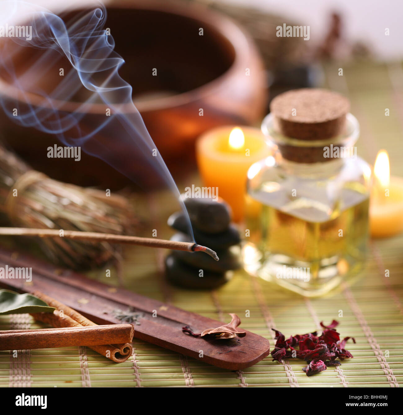 Still Life with aroma sticks in the spa salon. - Stock Image