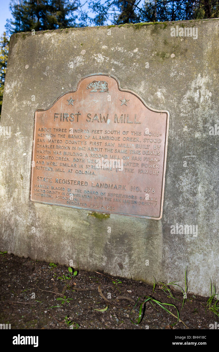 About three hundred feet south of this monument, on the banks of the Alambique Creek, stood San Mateo County's - Stock Image