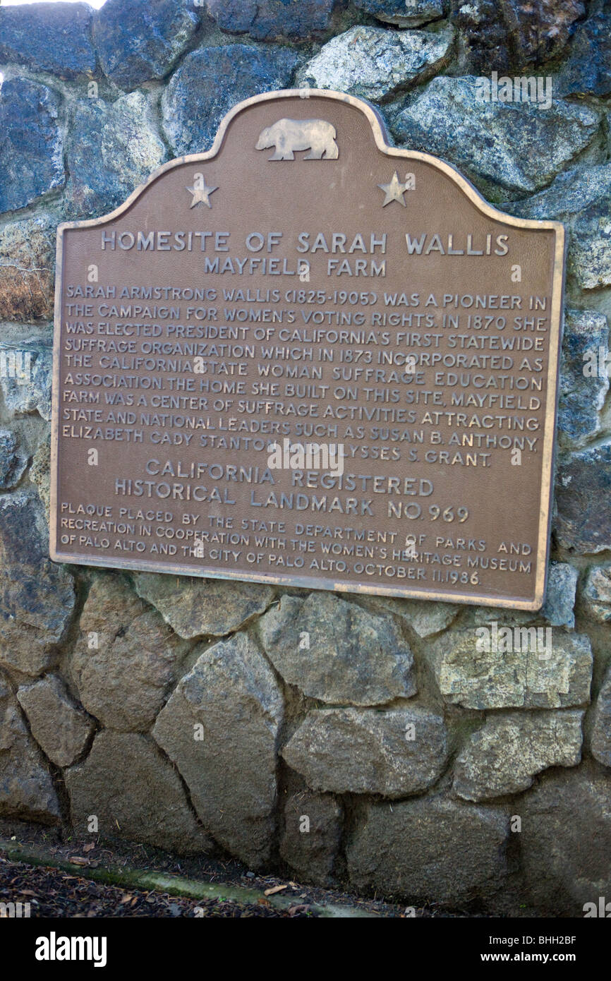 HOME SITE OF SARAH WALLIS - Sarah Armstrong Wallis (1825-1905) was a pioneer in the campaign for women's voting - Stock Image