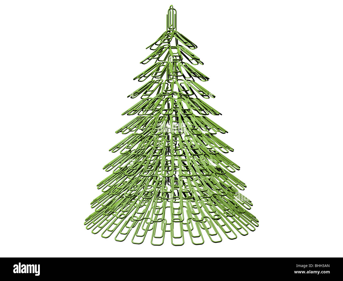 The green Christmas tree maiden with office fastener - Stock Image