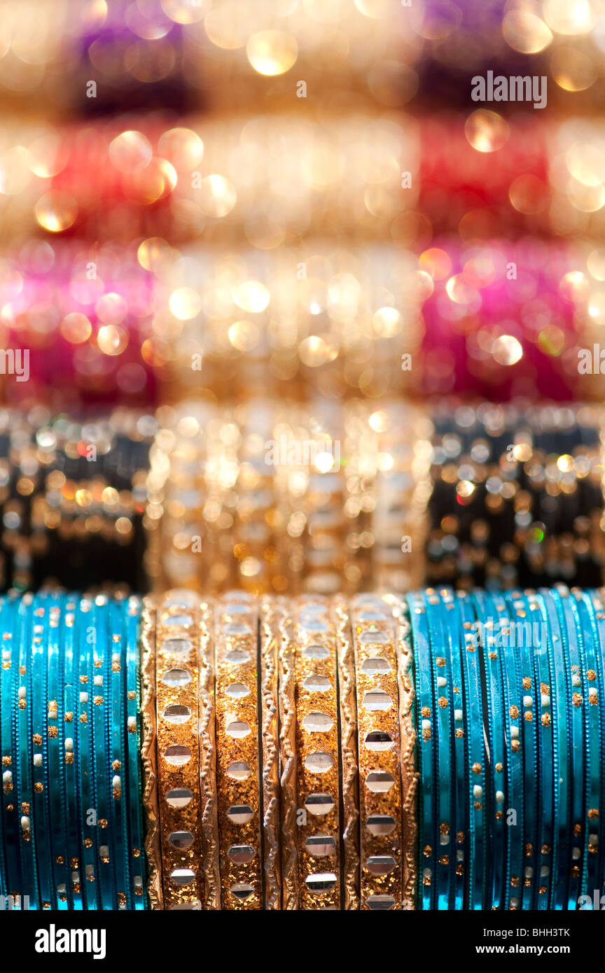 Indian womens bangles pattern. India. Selective focus - Stock Image