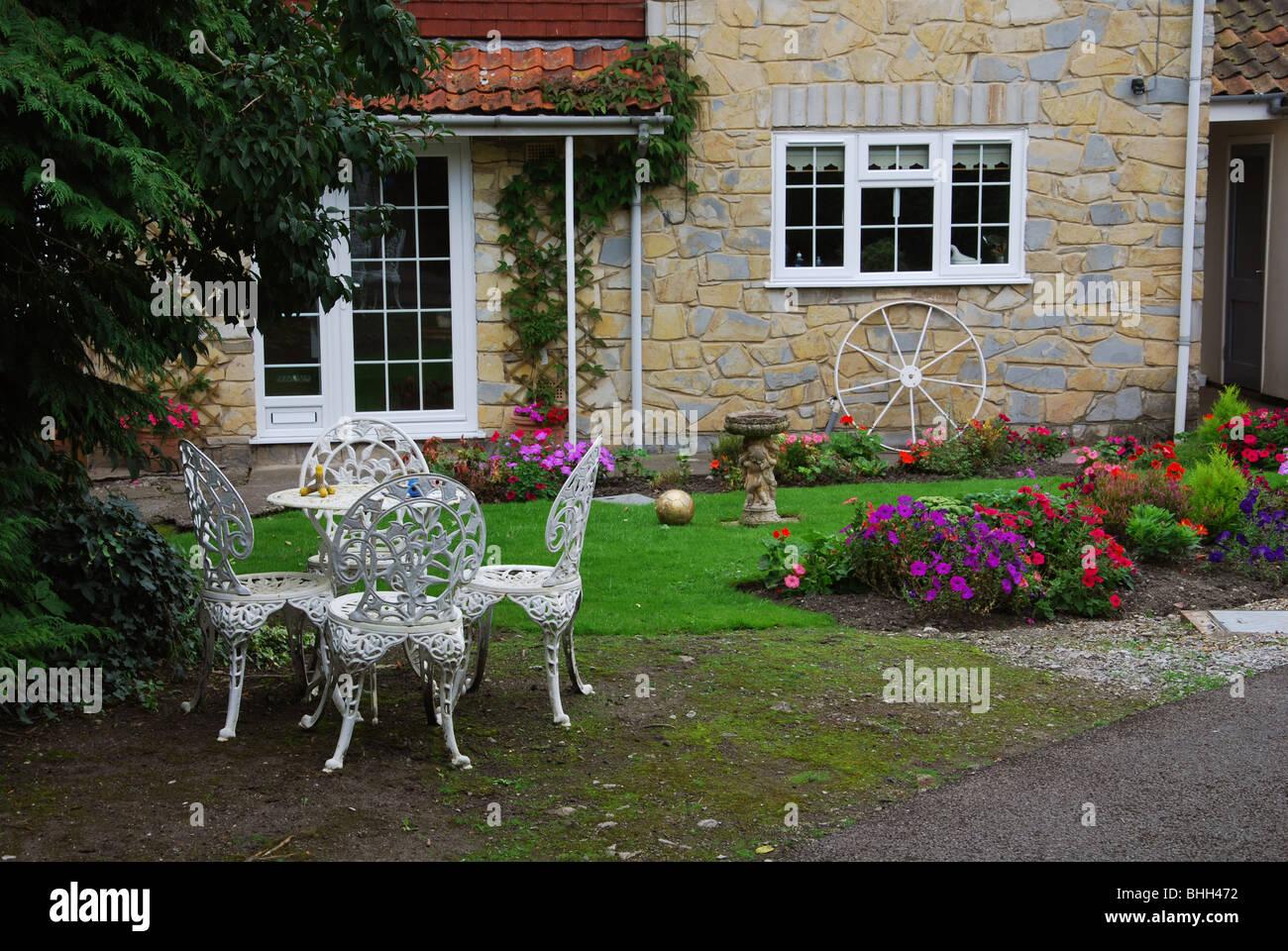 domestic garden Glastonbury United Kingdom - Stock Image