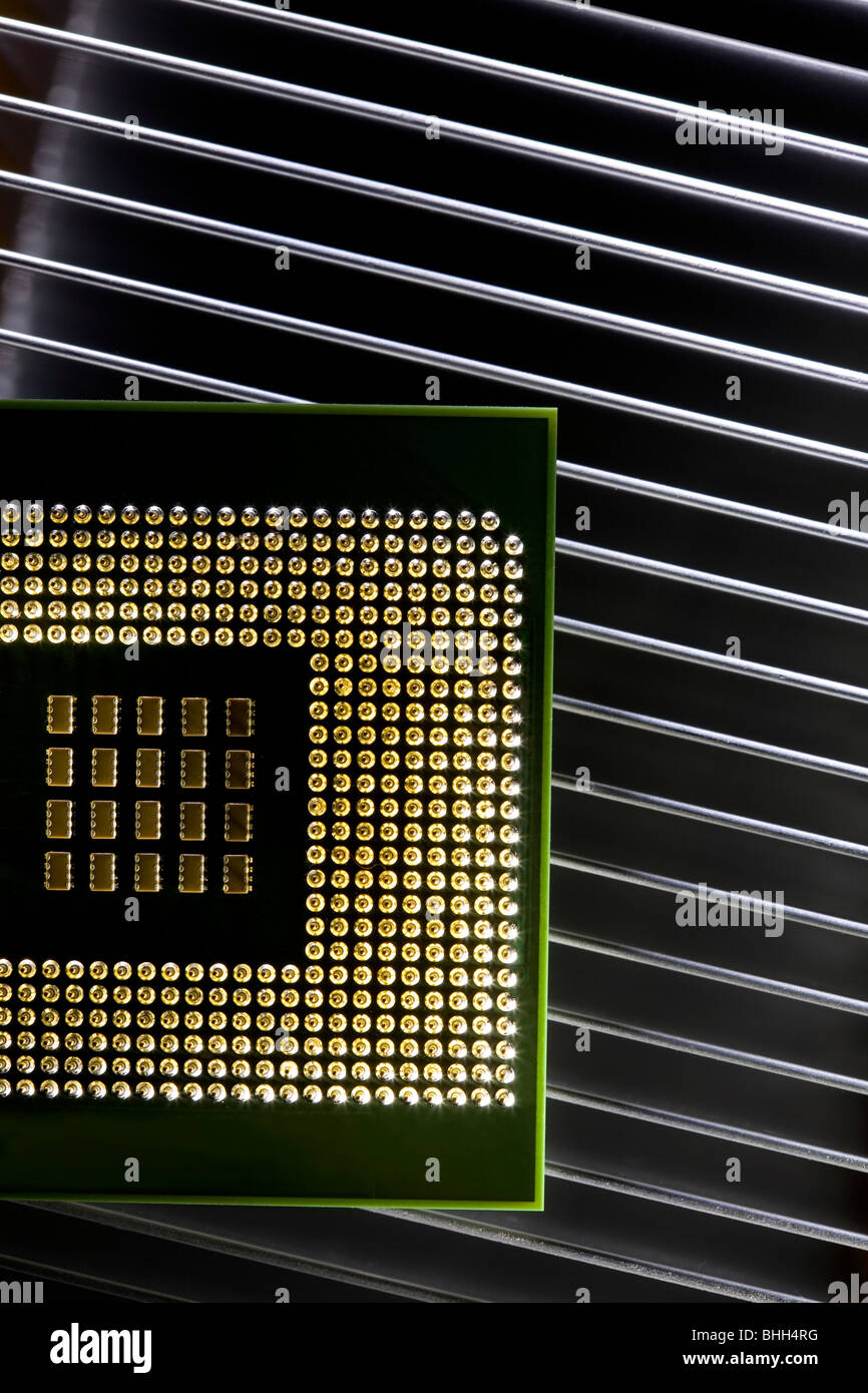 close up of computer cpu processor - Stock Image