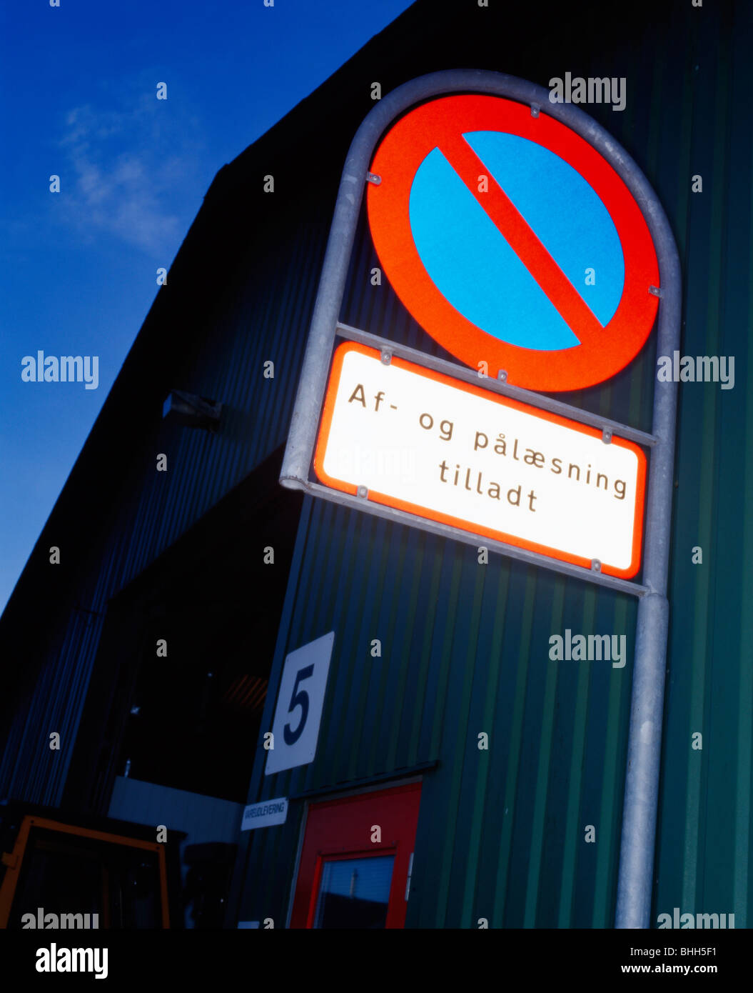 A sign in the evening, Denmark. Stock Photo