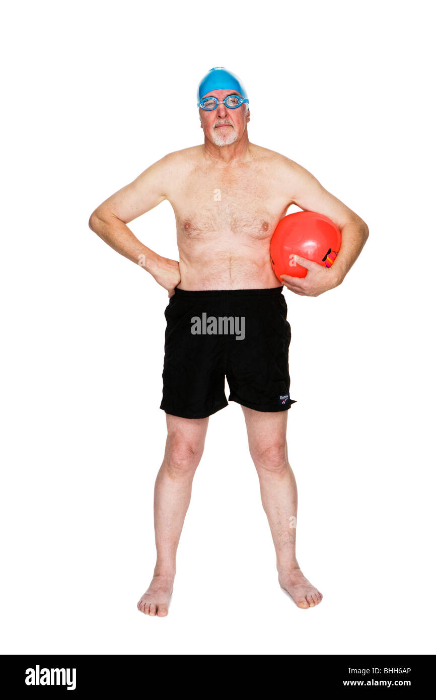 Senior man with a bathing cap. - Stock Image