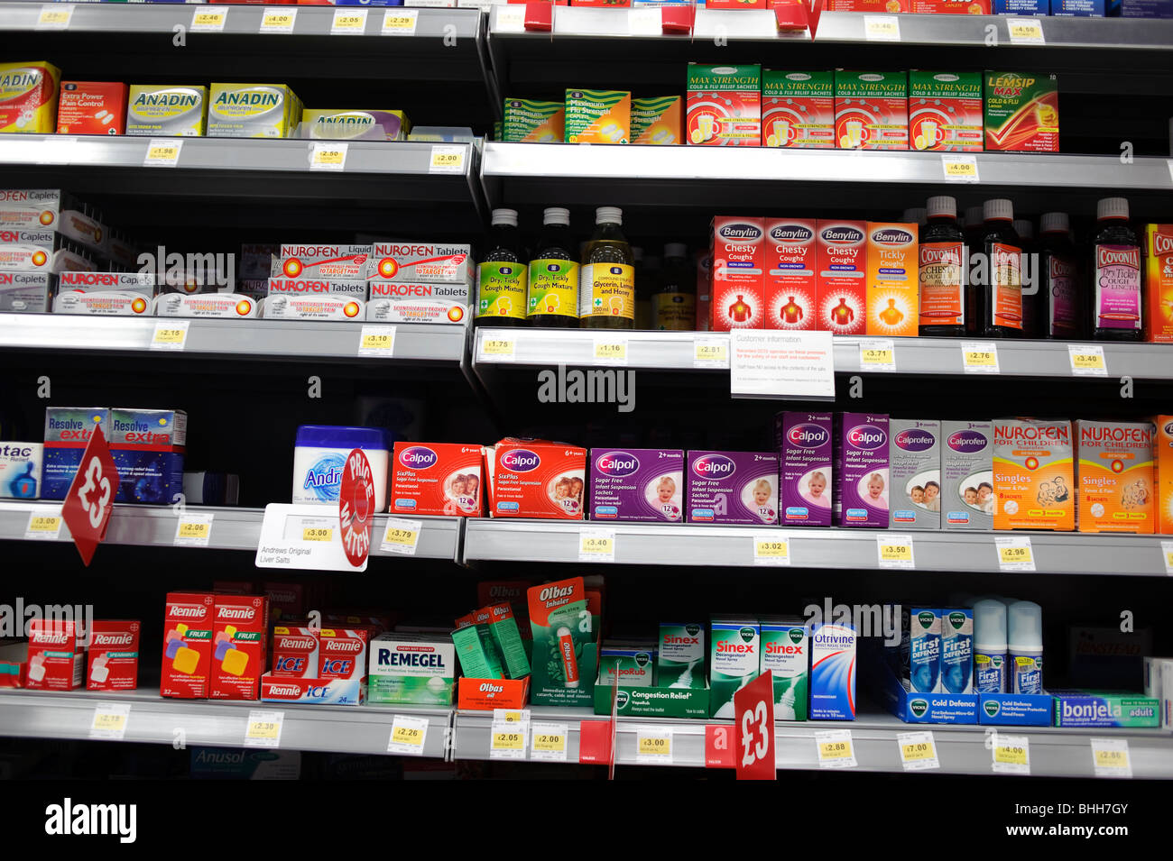 Over the counter non-prescription common cold and flu remedies on sale on the shelves at Co-Op supermarket, UK - Stock Image