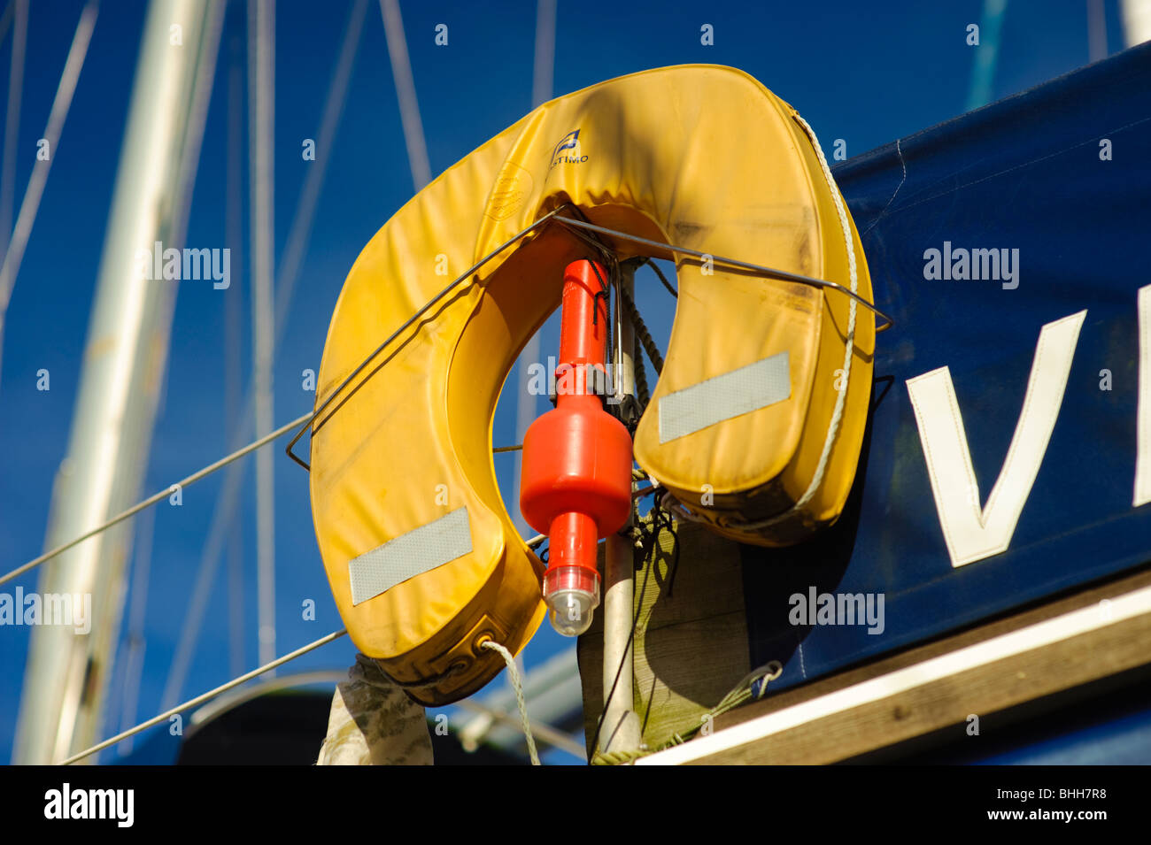 Man overboard sling with beacon, safety equipment on a yacht, UK - Stock Image