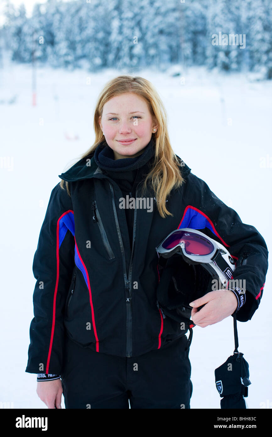 Portrait of a young femal downhill skier, Sweden. - Stock Image