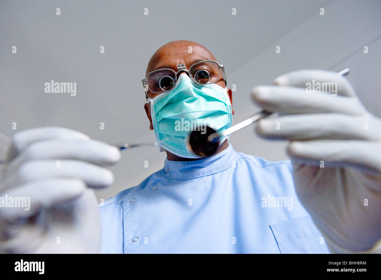 Dentist  in scary, frightening pose - Stock Image