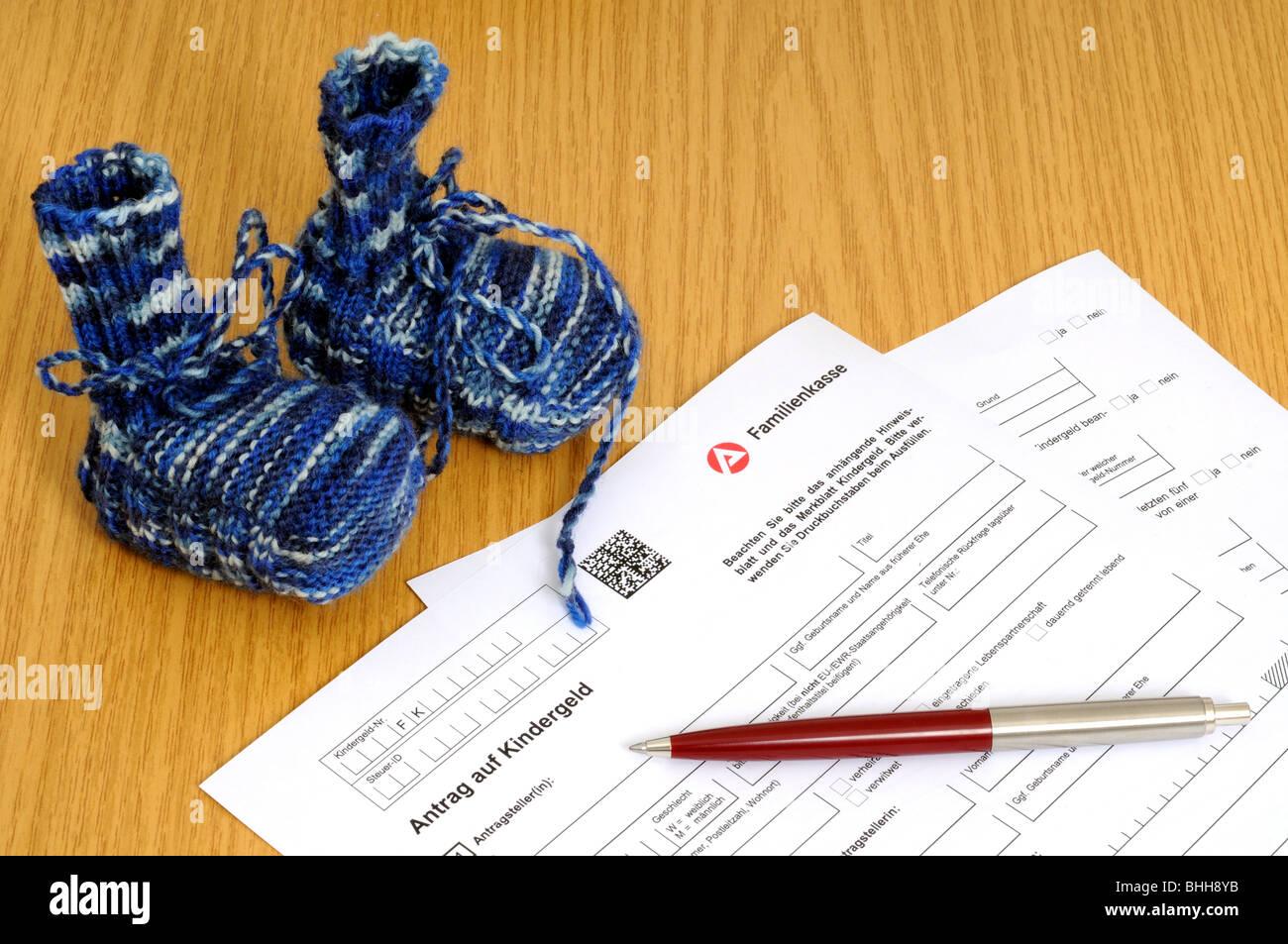 German application form for child benefits Stock Photo: 28039743 - on german documents, german cv, german brochure, german background,
