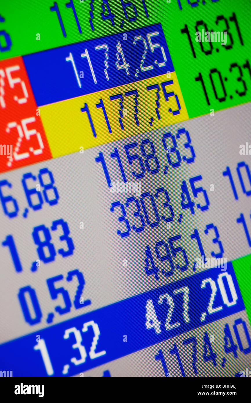 Stock-exchange rates, close-up. - Stock Image