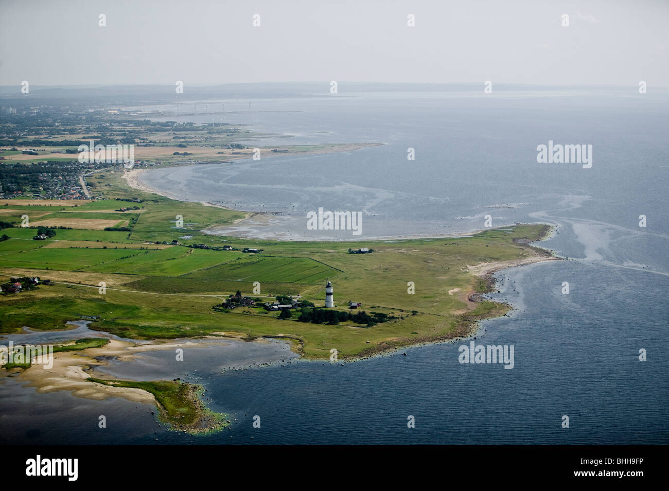 A lighthouse by the coast, aerial view, Halland, Sweden. - Stock Image