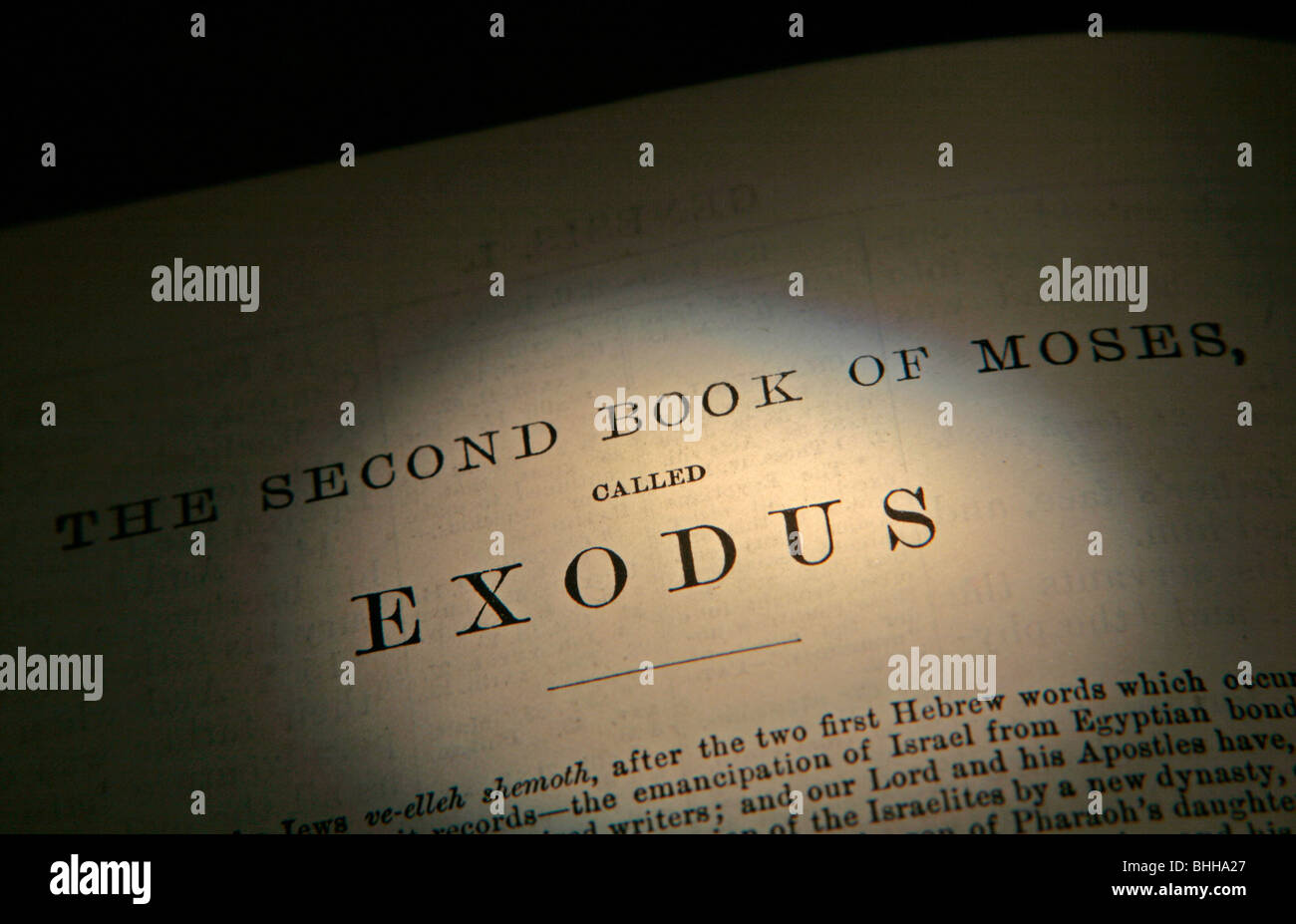 Old Testament Exodus Title page from the King James Version of the Bible in English - Stock Image
