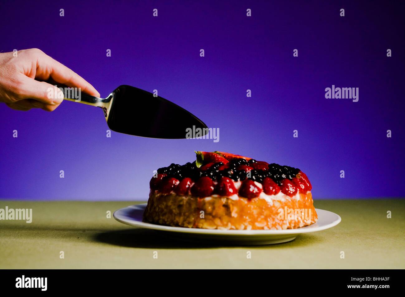 Cake against a blue background, Sweden. - Stock Image