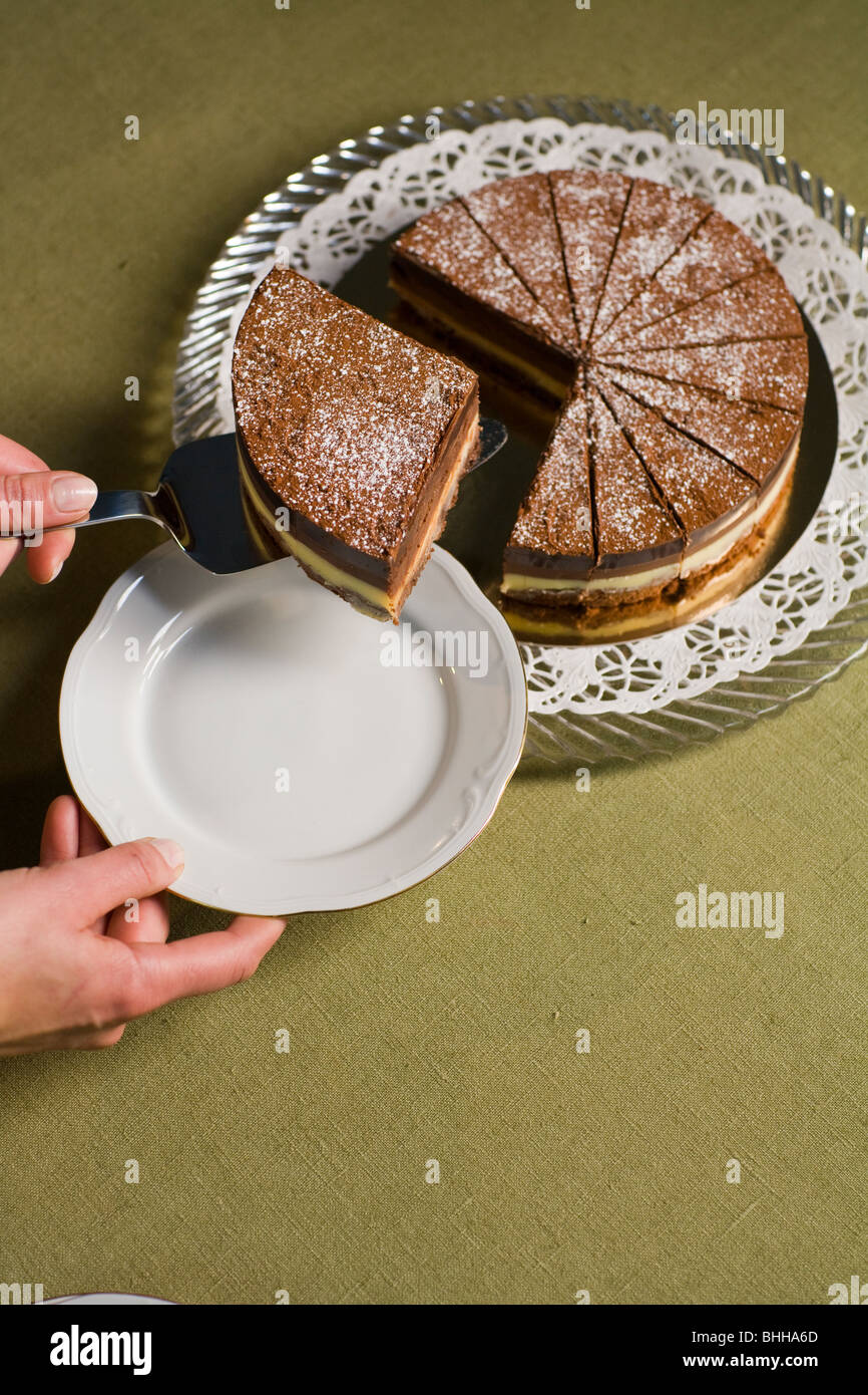 Hand taking a big part of a chocolate cake. - Stock Image