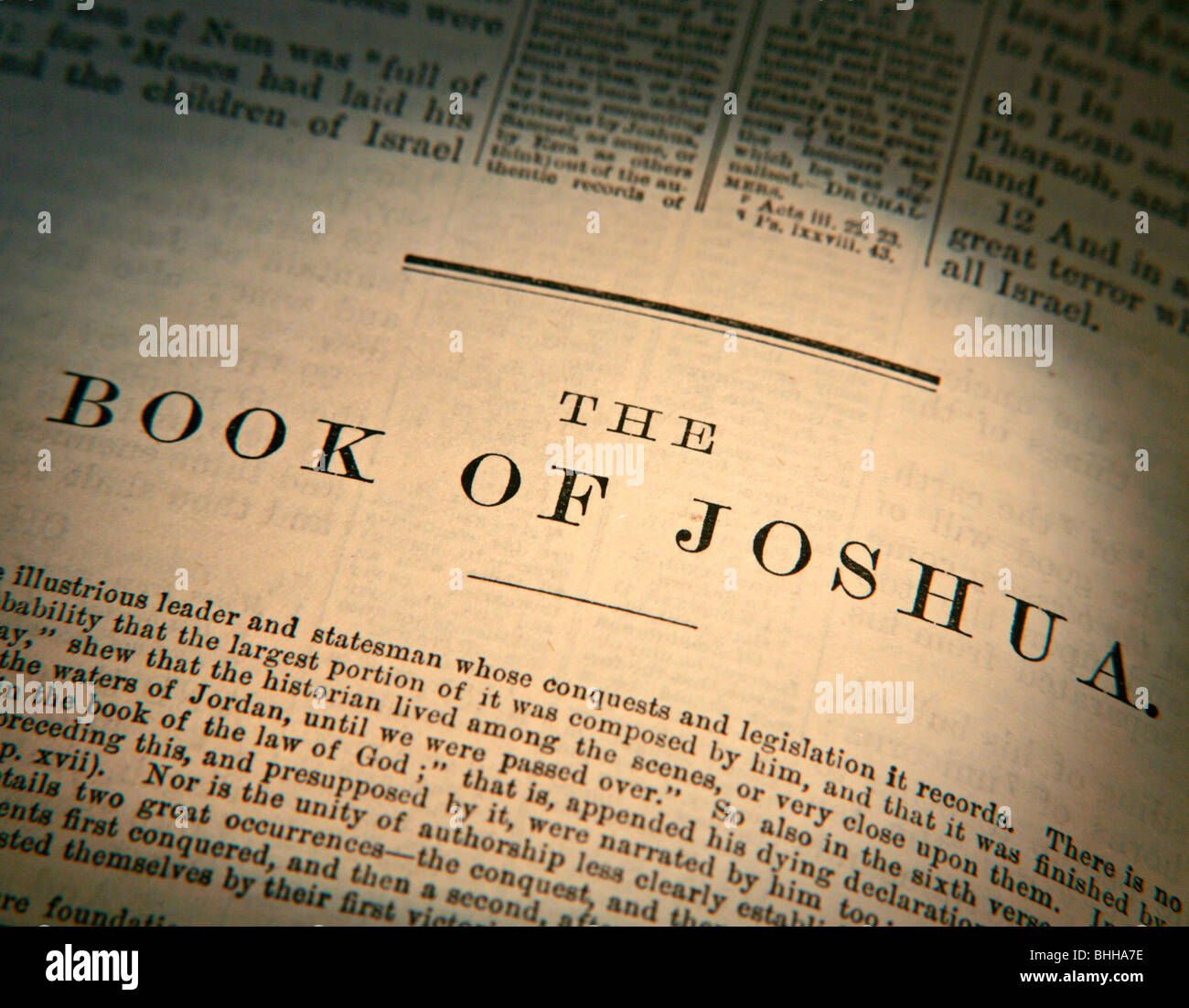 Old Testament, Book of Joshua Title Page from the King James Version of the Bible in English - Stock Image