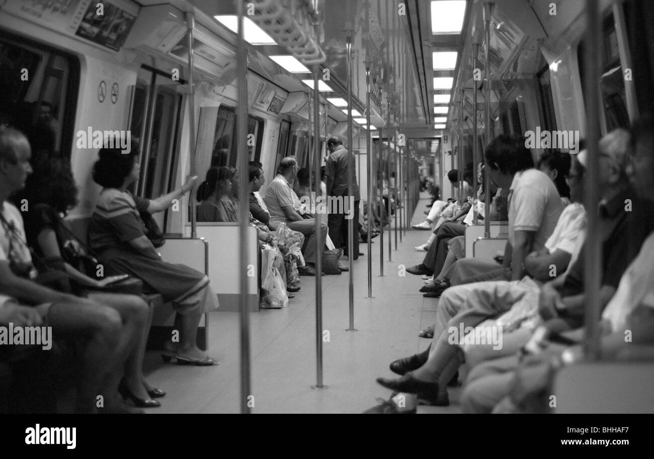 Interior of Singapore MRT train 1988 - Stock Image