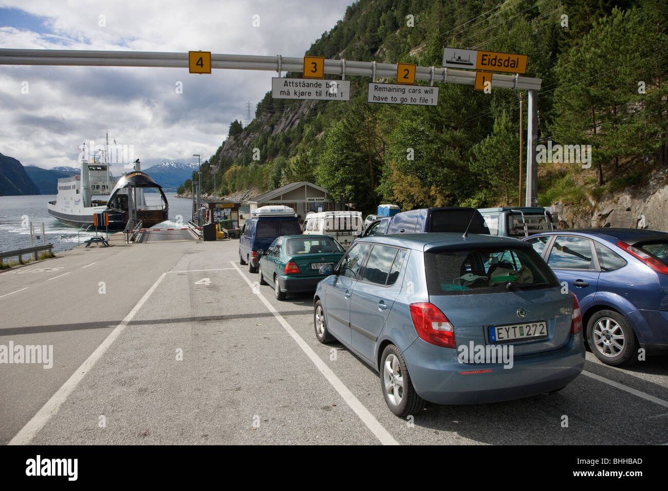 Cars on their way to ferry berth, Norway. Stock Photo