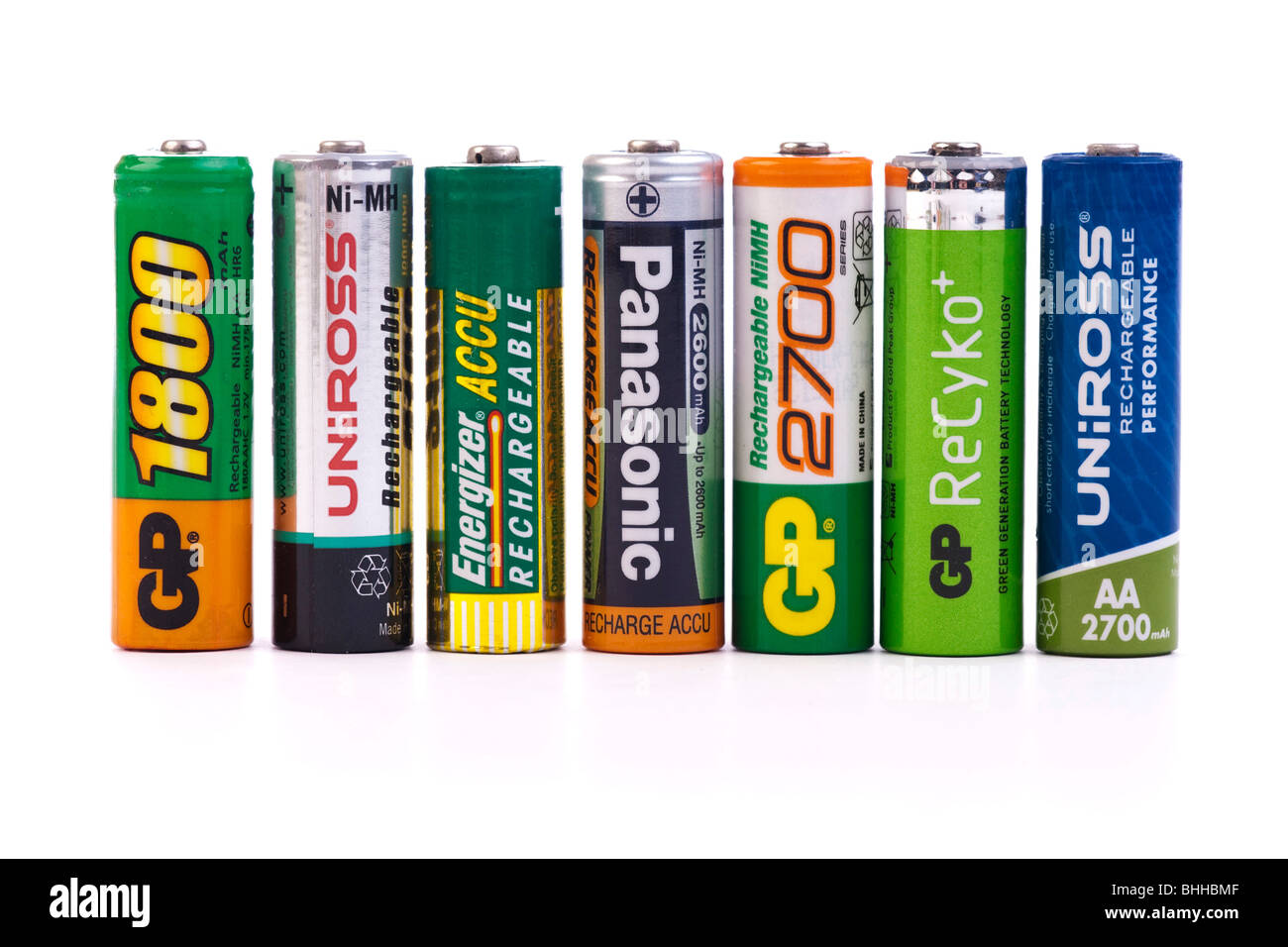 various nickel metal hydride NiMh rechargeable 1.5 volt batteries (cells) Stock Photo