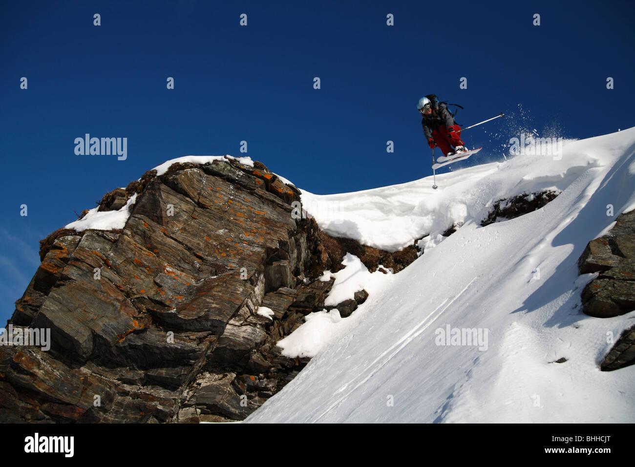 Skier going downhill, Abisko, Lapland, Sweden. - Stock Image