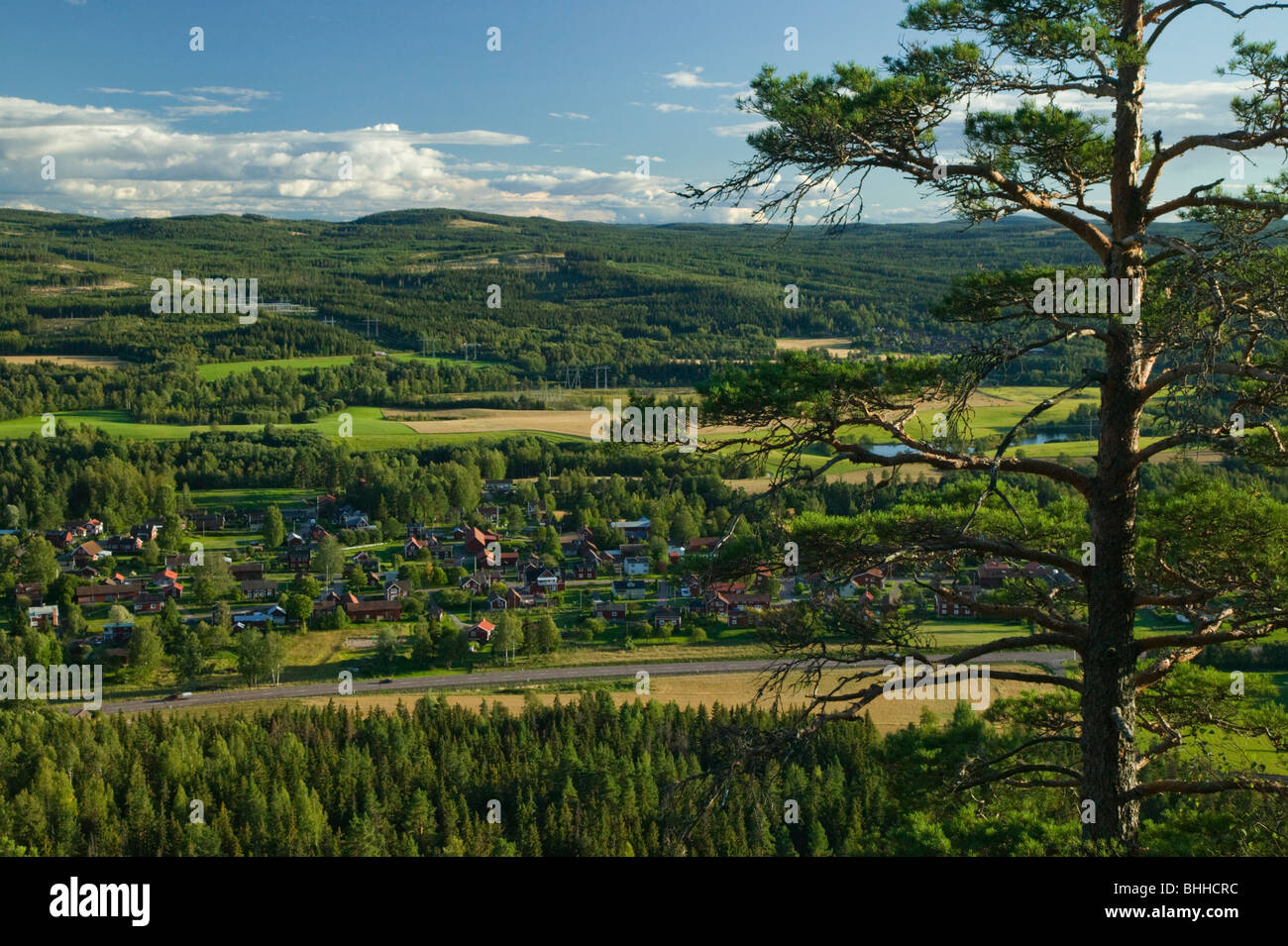 View of a small village, Dalarna, Sweden. - Stock Image