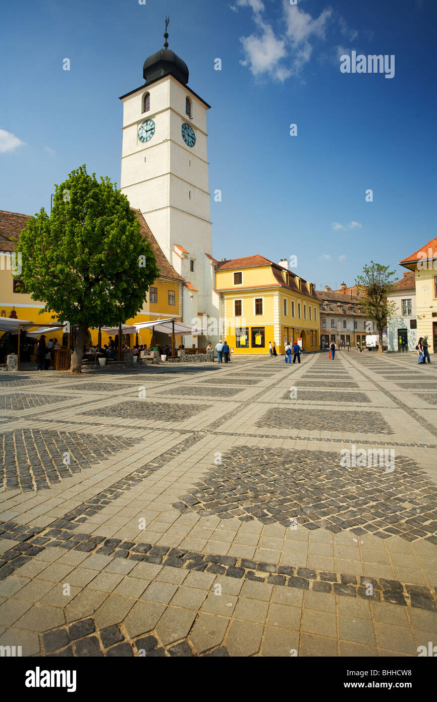 Tower in the old town of Sibiu, Romania - Stock Image