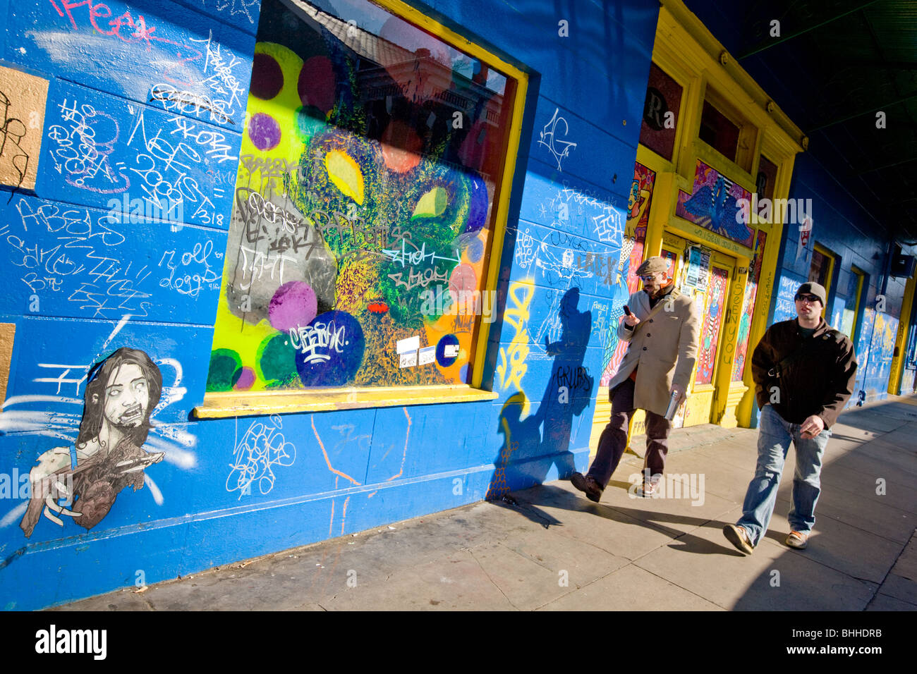 Colorful Frenchman Street, Fauborg Marigny District; New Orleans; Louisiana - Stock Image