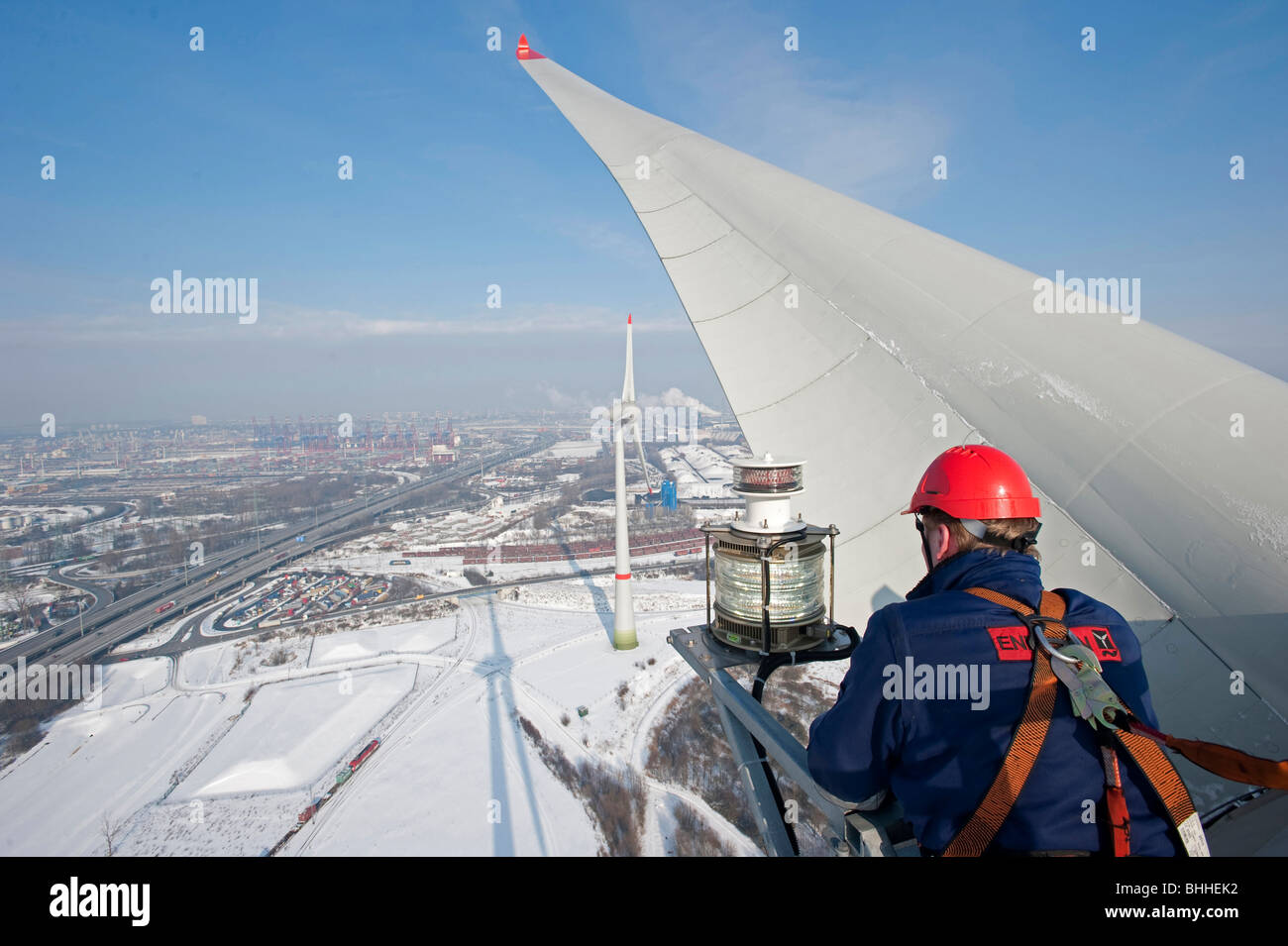 germany hamburg enercon wind turbine e 126 with 6 mw in harbour and stock photo 28044214 alamy. Black Bedroom Furniture Sets. Home Design Ideas