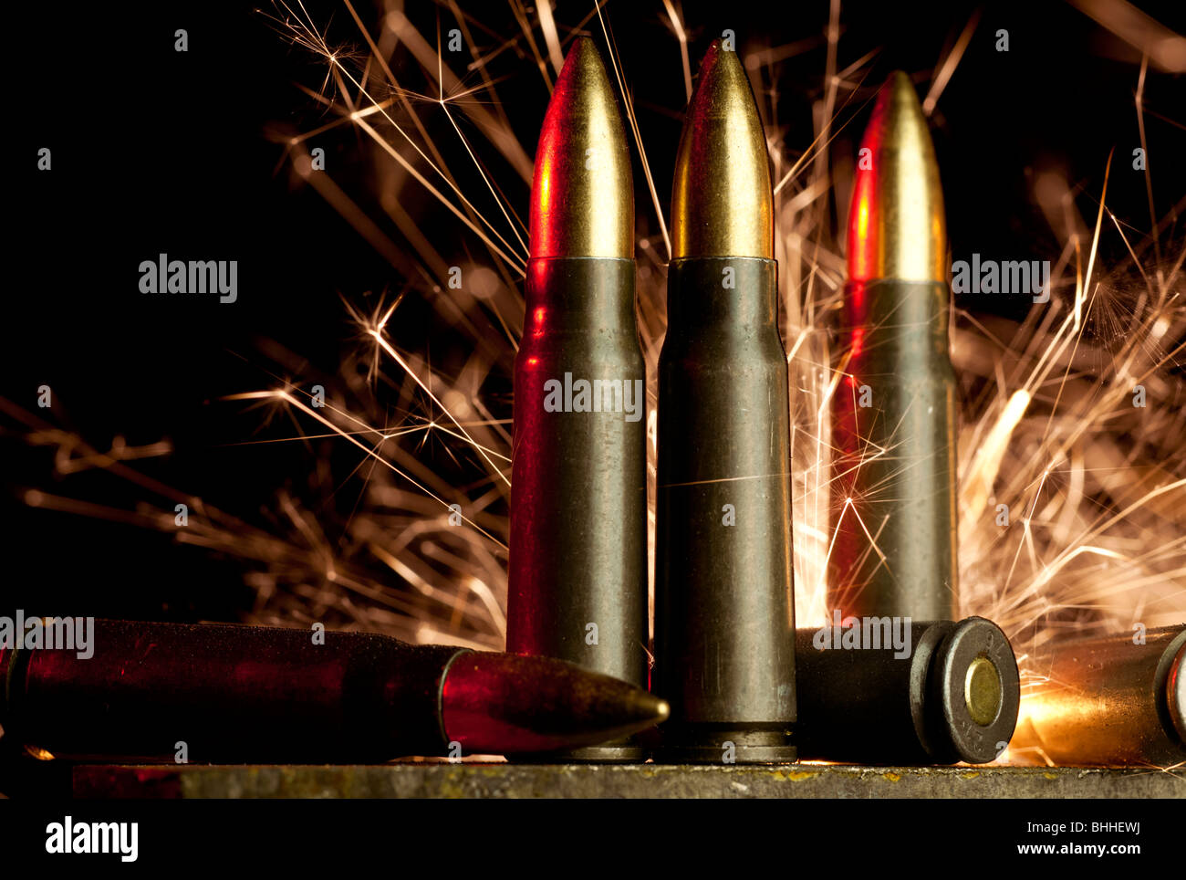 Assault rifle cartridges - Stock Image