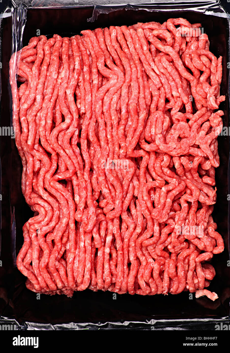 Close up on package of lean red raw ground meat - Stock Image