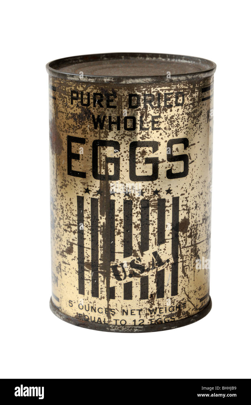 WWII period tin of dried eggs - Stock Image