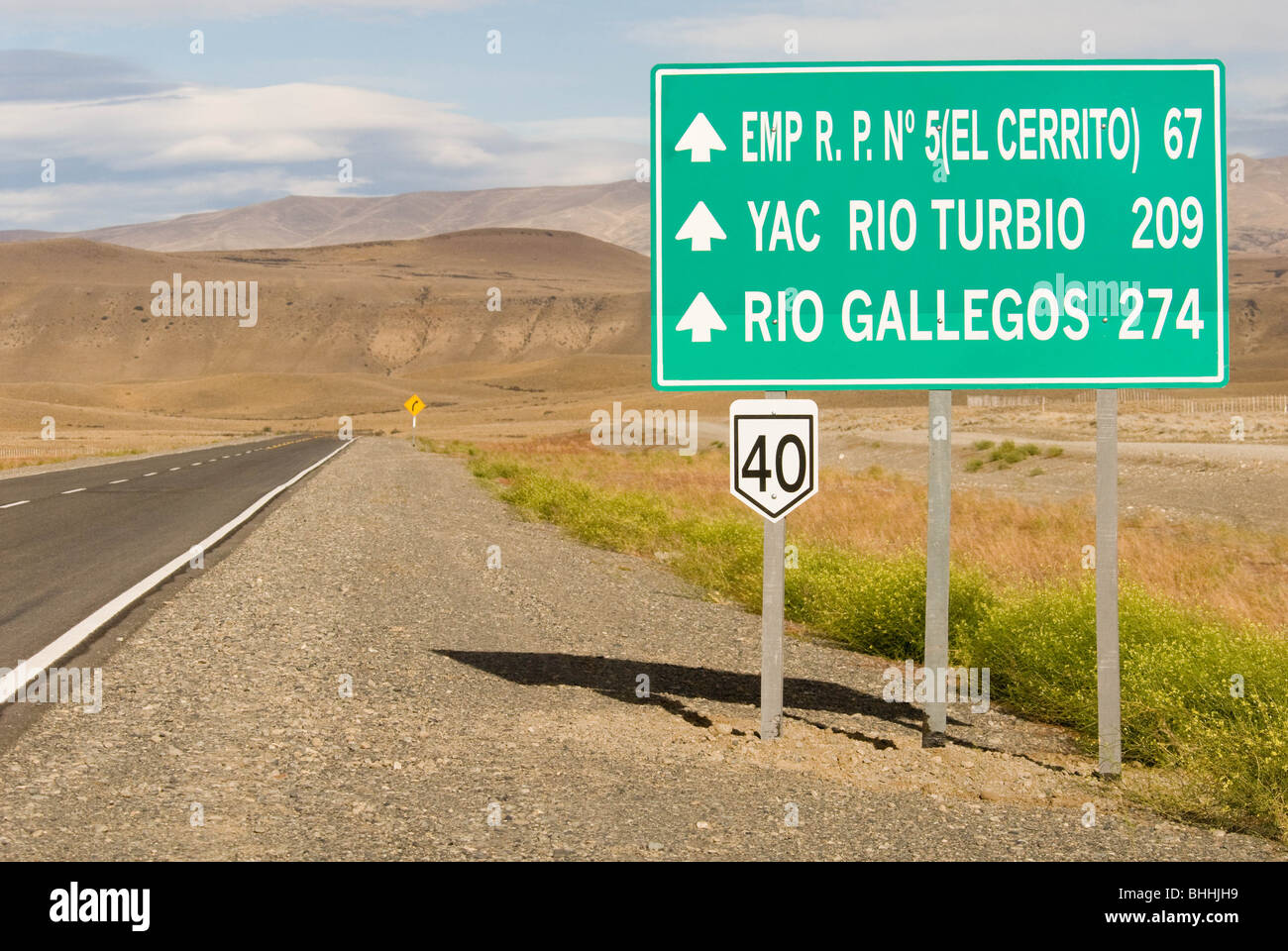 Ruta 40 southern Patagonia Argentina. The longest highway in Argentina, runs the length of the country. - Stock Image