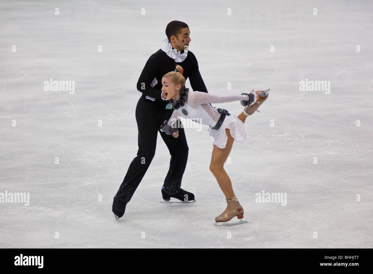 Aliona Savchenko and Robin Szolkowy (GER) competing in the pairs short the 2010 Olympic Winter Games - Stock Image
