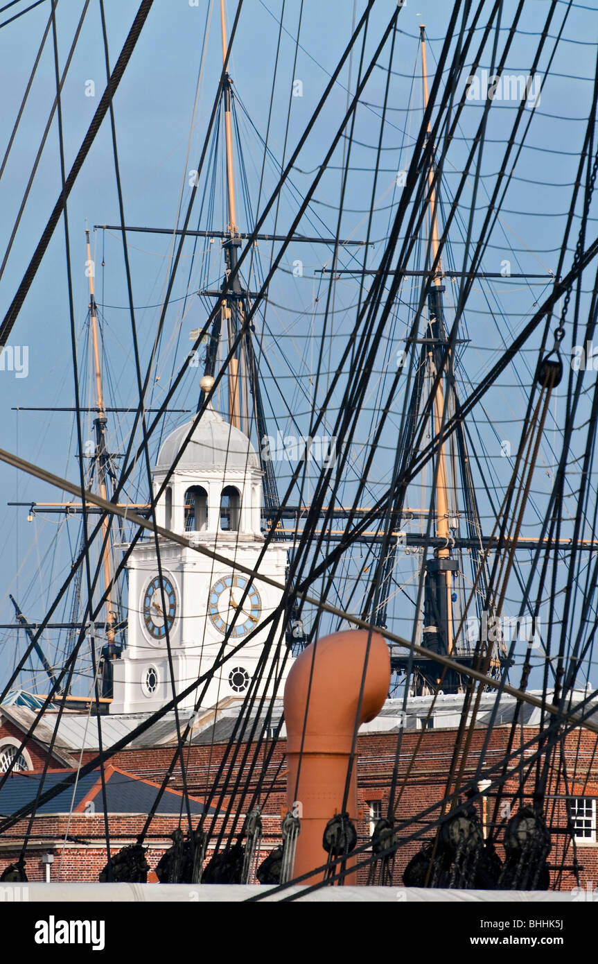 Looking through the rigging of HMS Warrior with HMS Victory in the background. Portsmouth harbour Hampshire,  England - Stock Image