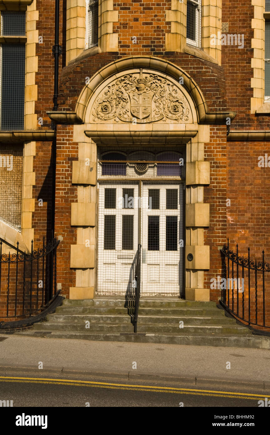 Entrance way to disused gas works in Ramsgate, Kent, United Kingdom - Stock Image