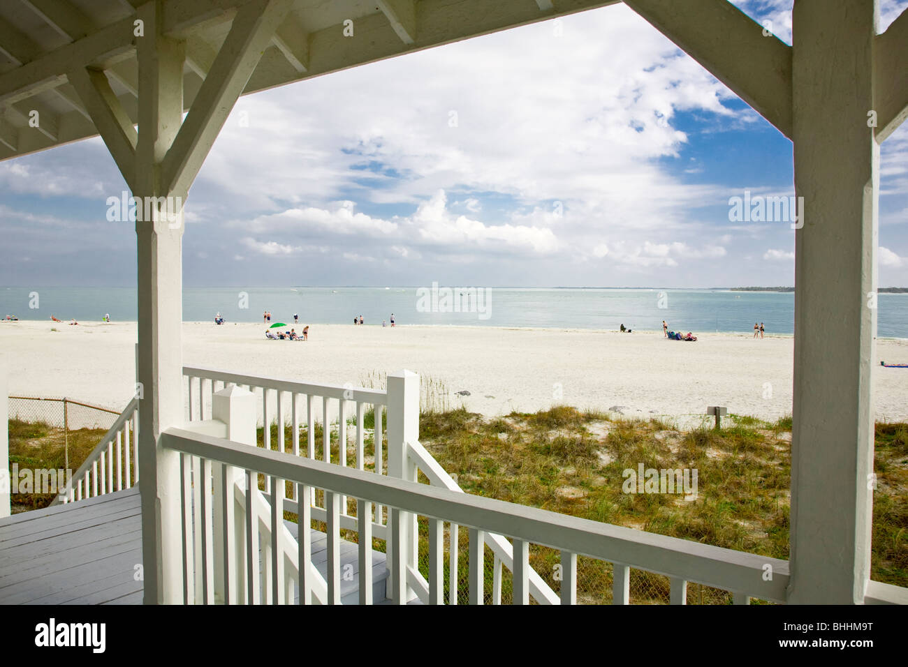 View from porch of Port Boca Grande Lighthouse on Gasparilla Island Florida - Stock Image