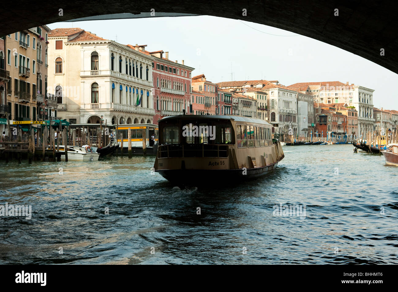 Venice, Italy. The Grand Canal, view beneath the Accademia Bridge - Stock Image