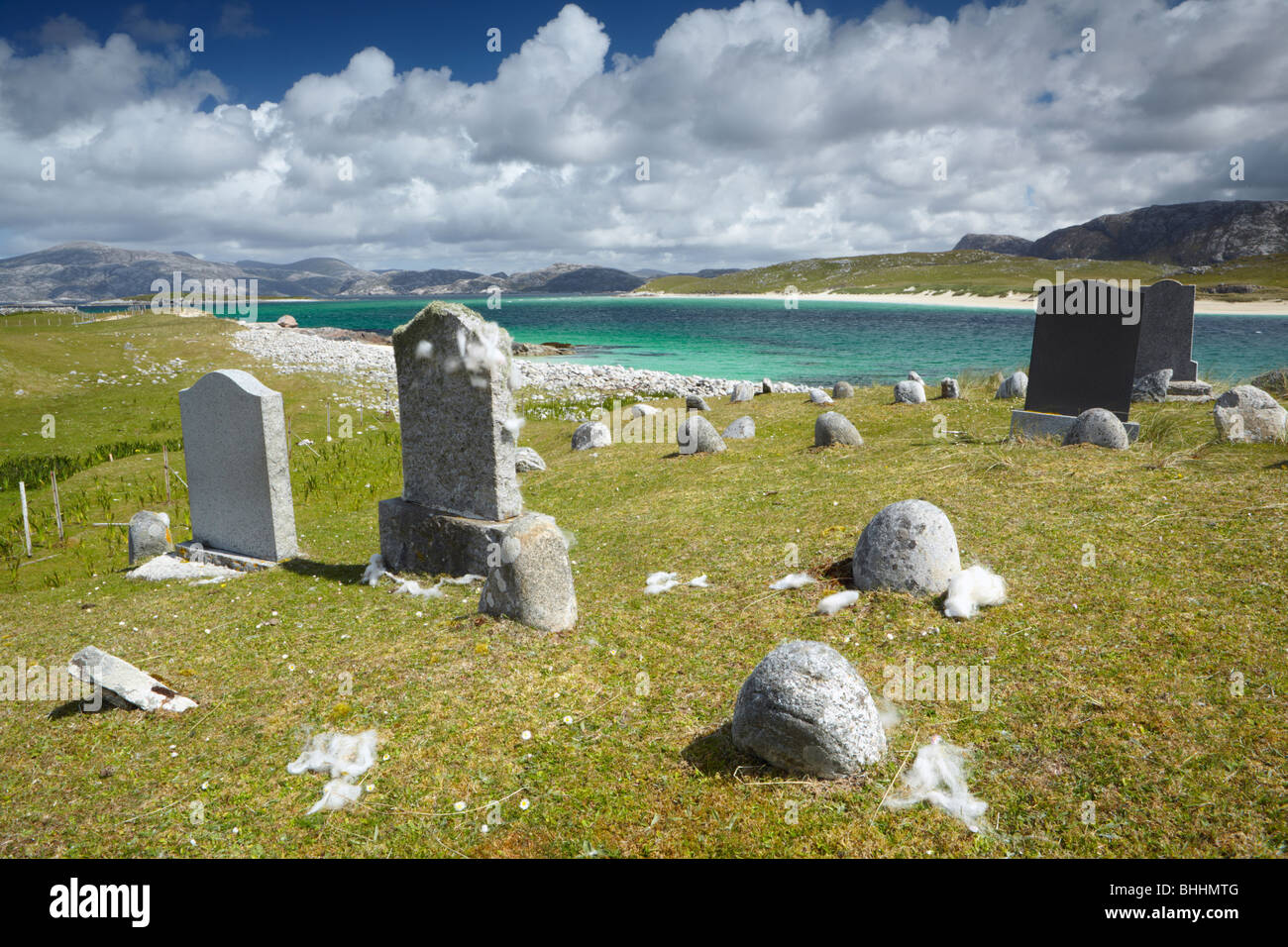 The graveyard on the depopulated island of Scarp in the Western Isles of Scotland - Stock Image