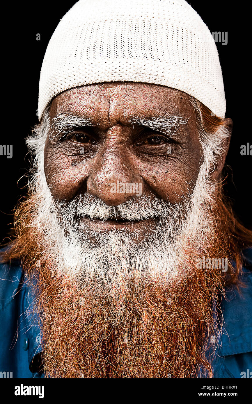 Portrait Of A Bhopali Muslim Man With Henna Dyed Beard In The