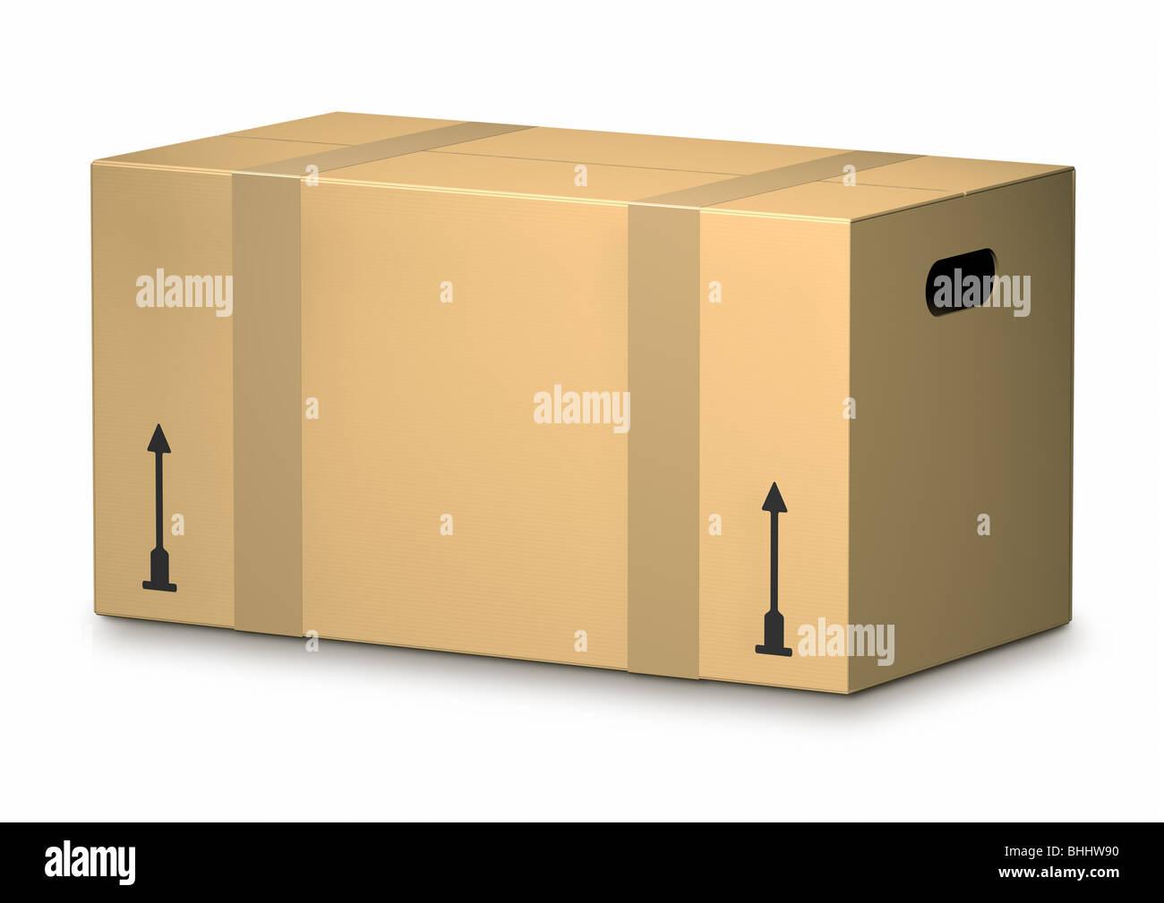 Cardboard Box on white Background - Karton - Stock Image