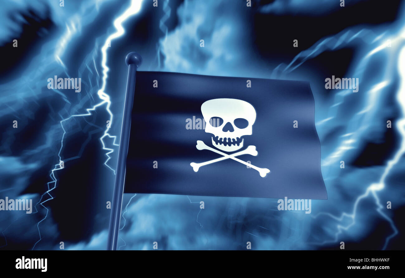 Pirate Flag in a Thunderstorm - Piratenflagge im Gewitter - Stock Image