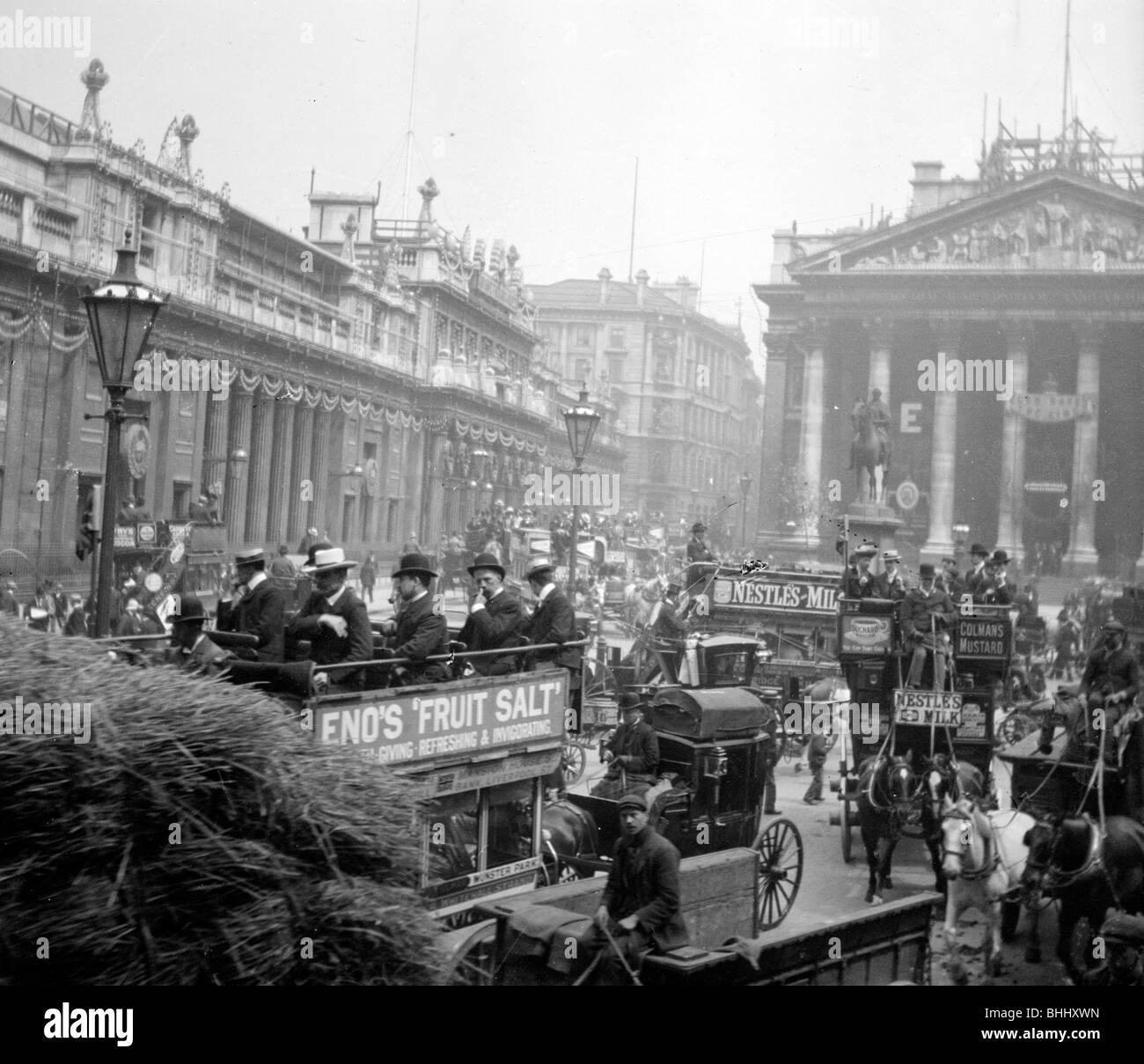 King Edward VII's Coronation Decorations, Threadneedle Street, London, 1901. Artist: Anon - Stock Image
