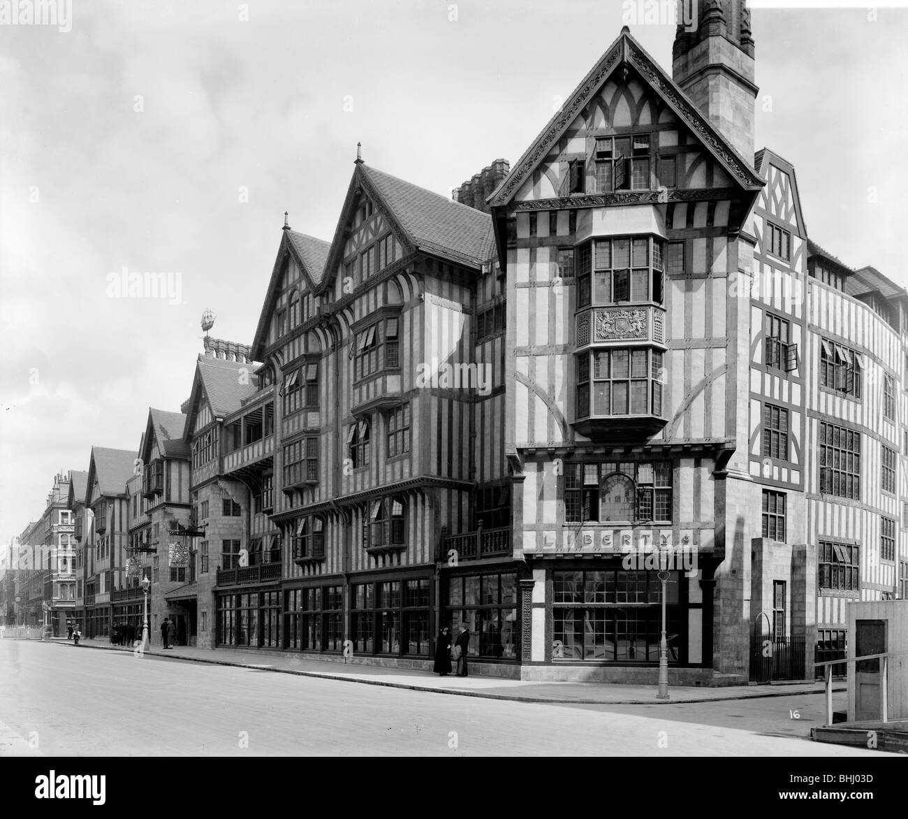 Liberty, the Arts and Crafts Tudor-style shop in Great Marlborough Street, London, 1924. Artist: Bedford Lemere - Stock Image