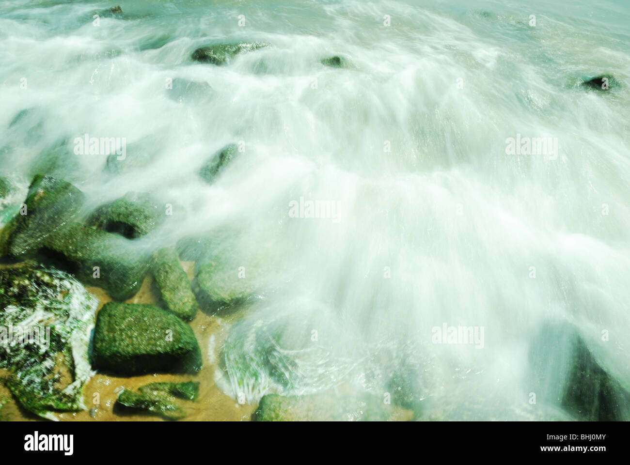 Moving water in slow shutter speed - Stock Image