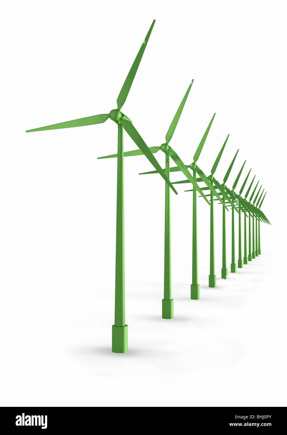 Windmills on white background - Windkraftanlagen auf weiss - Stock Image