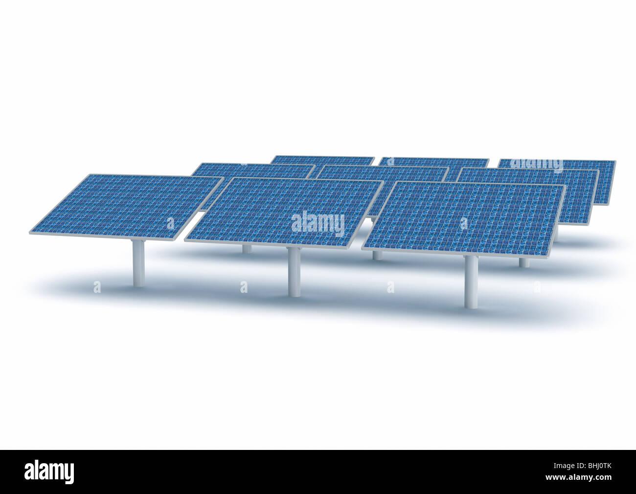 Solar Collector Panel, Energy - Solarpanels Sonnenkollektoren Solarenergie - Stock Image