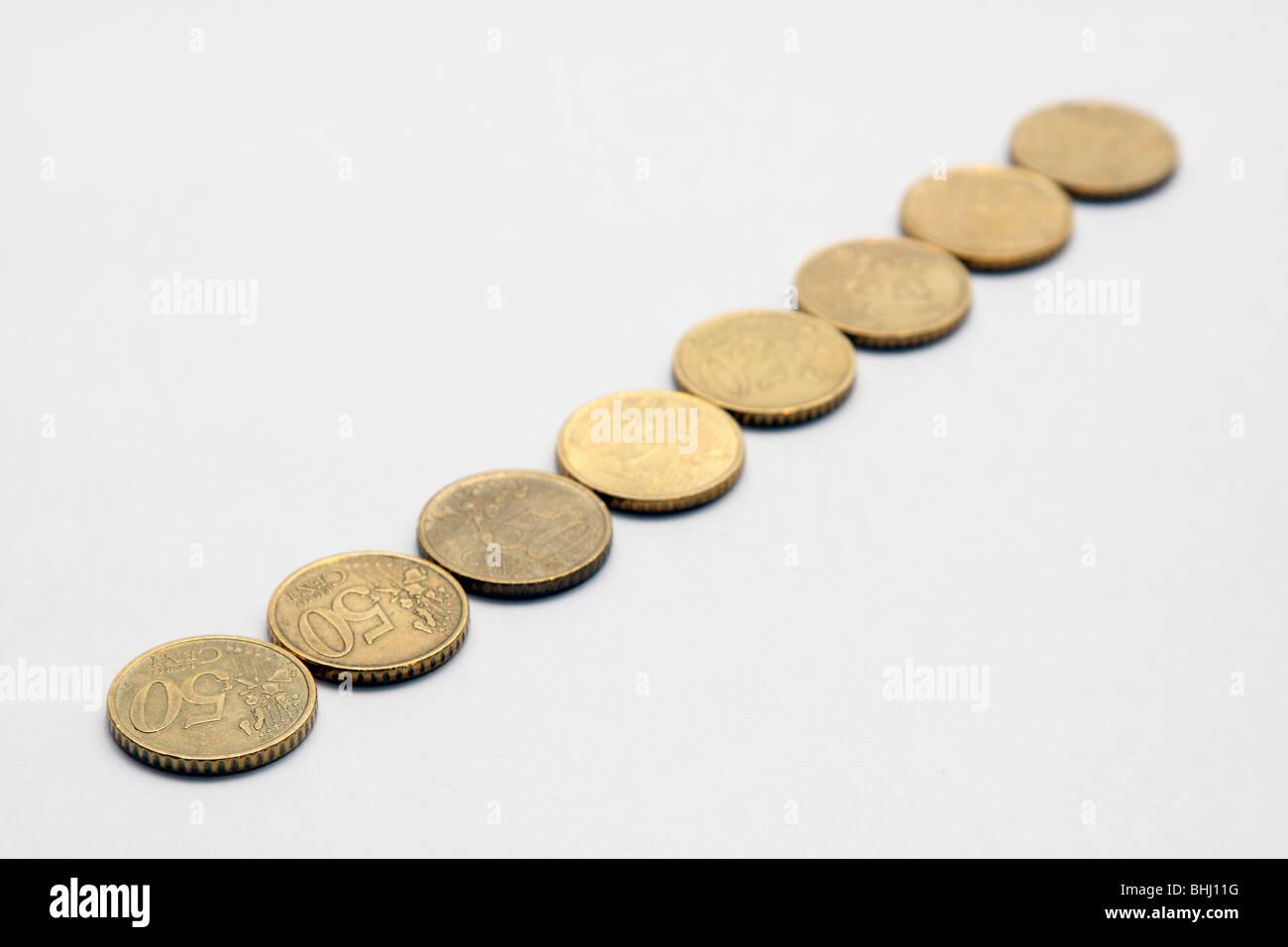 Euro coins on white background - Stock Image