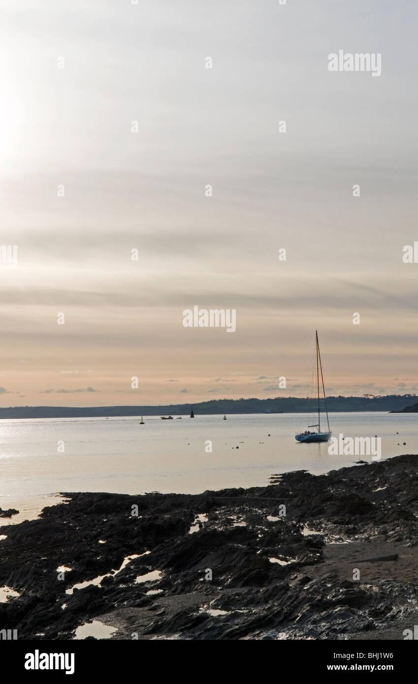 Dusk at St Mawes in Cornwall England UK - Stock Image