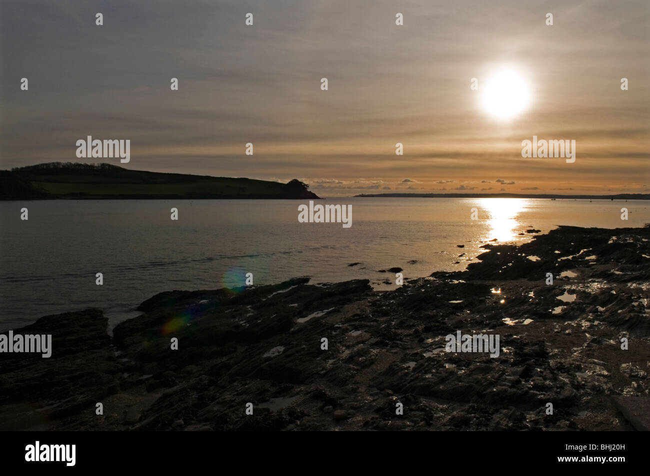 Sunset at St Mawes in Cornwall England UK Stock Photo