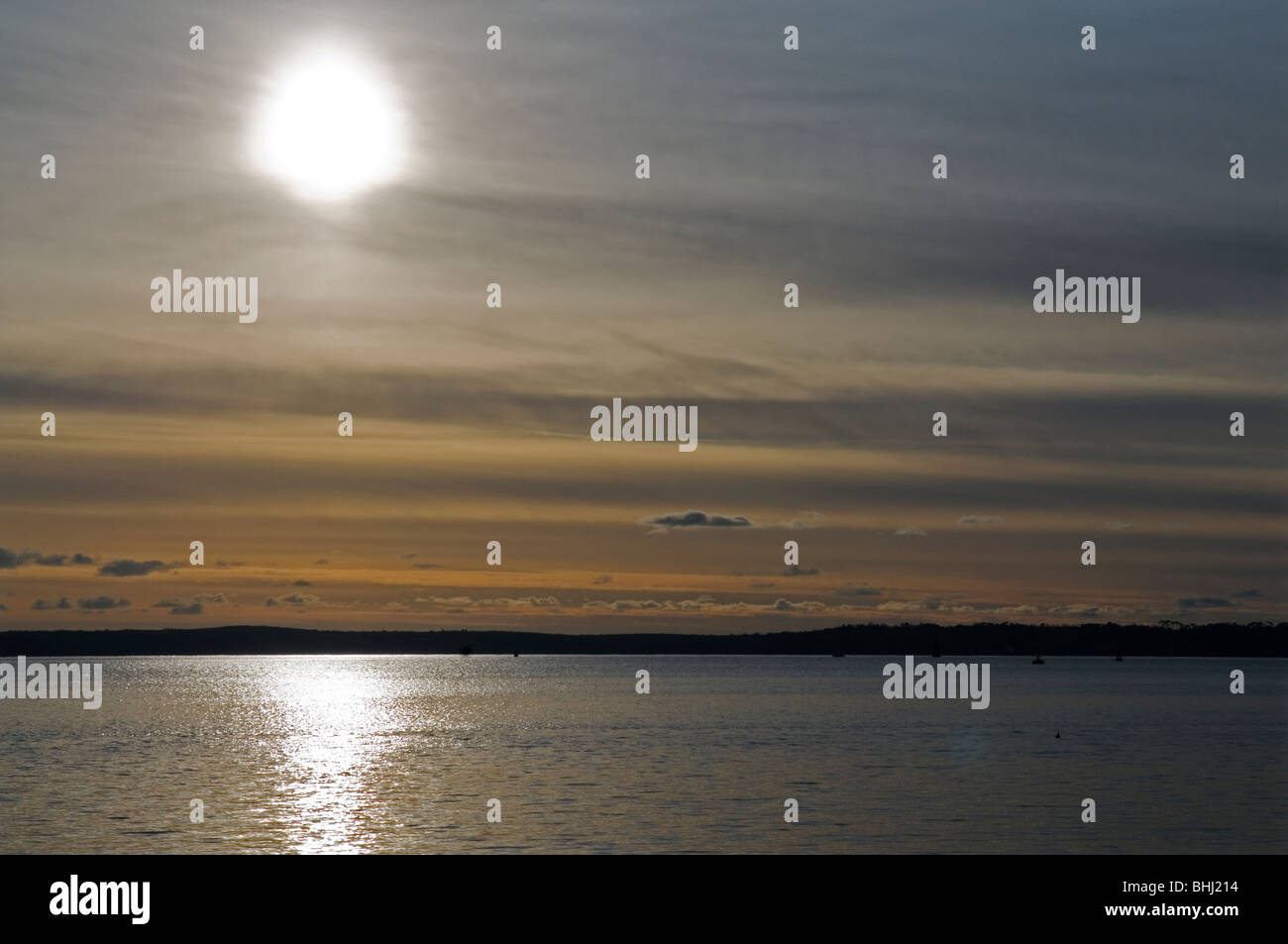 View from ferry across St Maves to Falmouth at sunset, Cornwall England UK Stock Photo
